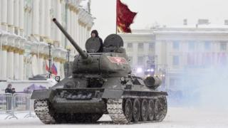 A Soviet WW2-era T-34 tank during a military parade in St Petersburg. Photo: 27 January 2019