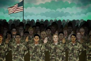 Illustration showing military personnel taking the oath, some have rainbow gags on their mouths