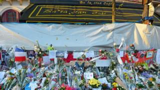 Flowers outside the Bataclan cafe