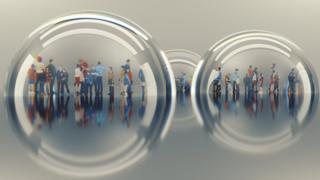 People living in isolated bubbles, illustration