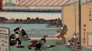 Một bản in ukiyo về nghi thức tại nhà uống trà.