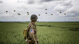 A parachute descent in Sannerville, France for the 75th anniversary of D-Day
