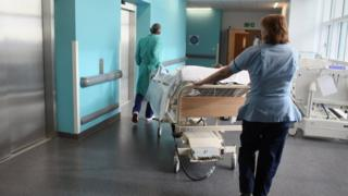Patient on a hospital trolley