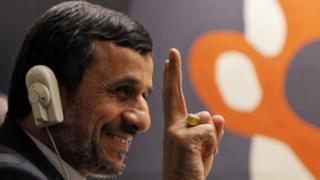 Iran's President Mahmoud Ahmadinejad at the United Nations headquarters in New York (24 September 2012)