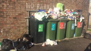 Rubbish piling up on the Wildmill estate