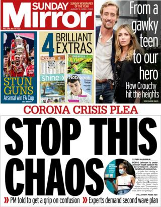 The Sunday Mirror front page 2 August
