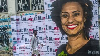 A wheat-paste piece of street art by artist Luis Bueno shows the councilwoman from Rio de Janeiro Marielle Franco. File photo