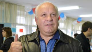 ABAKAN, RUSSIA - SEPTEMBER 9, 2018: Viktor Zimin, head of the Republic of Khakassia, at a polling station on Single Voting Day. Russia elects the heads of 26 regions, members of the legislative assemblies of 17 regions and 7 State Duma members. Alexander Kolbasov/TASS (Photo by Alexander Kolbasov\TASS via Getty Images)