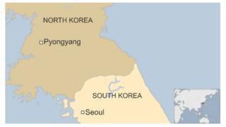 Map of Pyongyang and Seoul