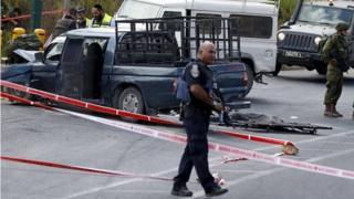 Scene of car ramming attack at Kiryat Arba (16/09/16)