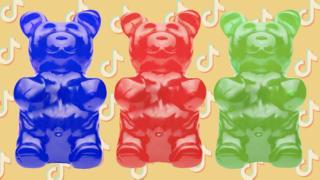 coronavirus stock Gummy bears against TikTok logos