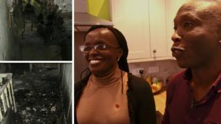 From bottom left to right: damage at Sam and Rachael Kamau's house when they first moved in and the couple in their home after they carried out renovations