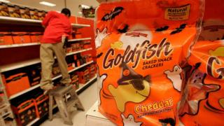 Goldfish Crackers on a shelf in Target