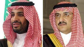 Amiir Maxamed Bin Salmaan(bidix) wuxuu badalayaa Amiir Maxamed Bin Nayef(midig) oo lahaa dhaxalka boqortooyada