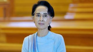Aung San Suu Kyi in parliament, Naypyidaw, on 1 December 2015