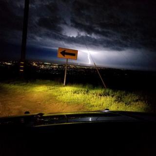 A final fork of lightning shown over the Santa Barbara skies