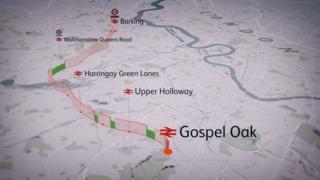Route map of barking to Gospel Oak line
