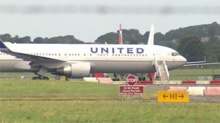 The Boeing 767-300 aircraft at Shannon Airport in County Clare after making an emergency landing this morning