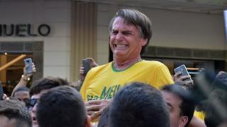 Jair Bolsonaro moments after being stabbed