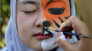 Woman with half her face covered with a tiger paint