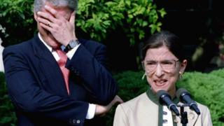 Former President Bill Clinton reacts to a remark made by Ruth Bader Ginsburg, 3 August 1993