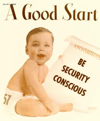 """A good start - be security conscious"" - a baby stars in an NSA advert"