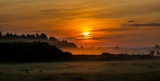Sunrise over Culloden Battlefield