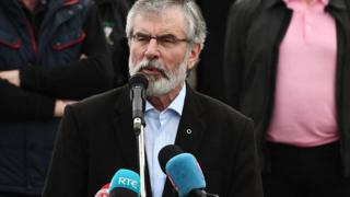 Gerry Adams speaking at a hunger strike commemoration event in west Belfast