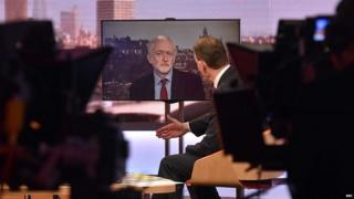 Jeremy Corbyn being interviewed by the BBC's Andrew Marr