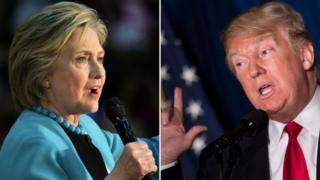 Hillary Clinton na Donald Trump kulia
