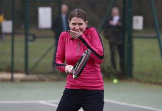 in_pictures Jo Swinson with a tennis racket