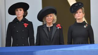 Members of the Royal Family watch the service at the Cenotaph