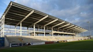 Northampton Town's Sixfields Stadium during construction