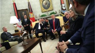 Mr Erdogan (centre left) and Mr Trump (centre right) met with Republican Senators in the Oval Office