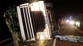 The lorry on its side