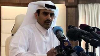 El ministro de Energía de Qatar, Saad al Kaabi, anunciando el retiro de Qatar de la OPEP.