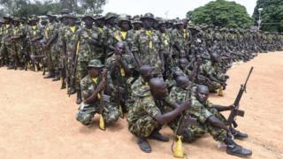 Nigeria army recruit dey train
