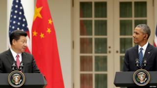 Chinese President Xi Jinping and US President Barack Obama, Washington (25 September)