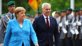 Angela Merkel pictured with Finland Prime Minister Antti Rinne