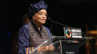 Ellen Johnson Sirleaf speaks on stage in New York (September 2017)