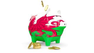 environment Wales' flag on a piggy bank