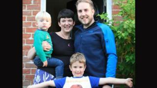 New Muck Primary School teacher, Laura Marriner holding son Atticus with husband Dean and son Charlie