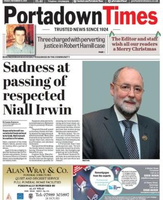 front page of the Portadown Times Friday 21 December 2018