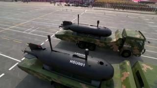 HSU-001 underwater drone is displayed in public for the first time in Tiananmen Square in Beijing on 1 October 2019.