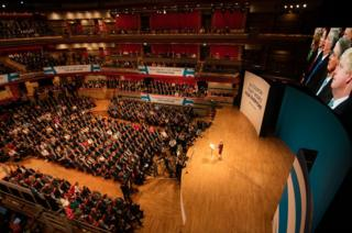 Prime Minister Theresa May makes her keynote speech as she closes the 2016 Conservative Conference at the ICC Birmingham on 5 October 2016 in Birmingham, England.