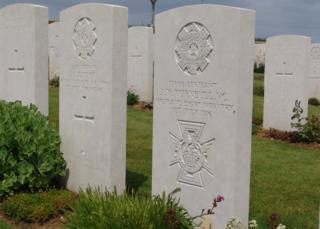Two headstones to two soldiers who died on the same day of the battle of the Somme.