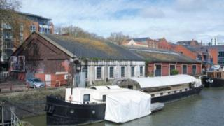The Ebenhaezer barge at the O&M Shed site which Bristol City Council is buying for £1.4m