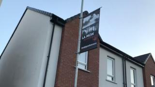 The banners commemorate IRA atrocities such as the firebomb attack La Mon House Hotel
