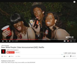 """Screengrab from """"Dear White People"""" series trailer uploaded on the YouTube page of Netflix US and Canada"""