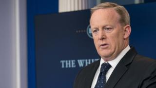 White House Press Secretary Sean Spicer appears at a news briefing.
